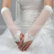 <b>Amazing</b> Long Finger-less <b>Satin</b> Wedding Glove with Laciness ...