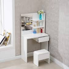 Corner Dressing Table Design Tukailai White Dressing Table With Stool And Mirror Set White Make Up Table 1 Drawer And Shelf With 2 Levels For Storage Corner For Bedroom