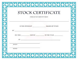 Share Stock Certificate Template Ms Word Free Download Ledger