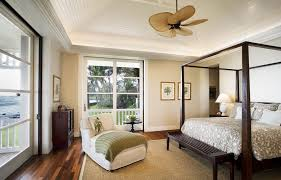Farmhouse Canopy Bed Hawaii Residence with crown molding and white wood