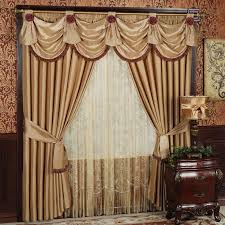Stylish Living Room Curtains Mediterranean Accent Fancy Curtains With Wooden Carving Window