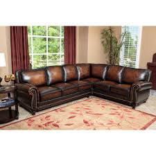 interesting red and beige living room filled distressed leather sectional sofa with beige leather sectional sofa