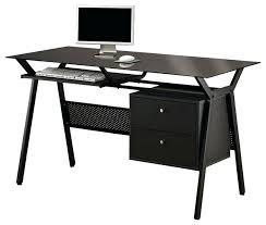 desk oak computer desk with keyboard shelf black simple metal glass 2 storage drawers pullout