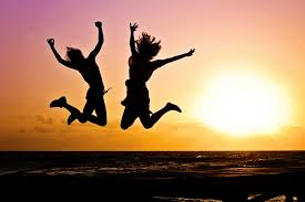 beach silhouette people sunrise sunset morning jump jumping seaside dusk high youth two freedom s fun