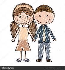 取られた手で似顔絵茶色男の子髪と女の子のおさげ髪髪型色鉛筆
