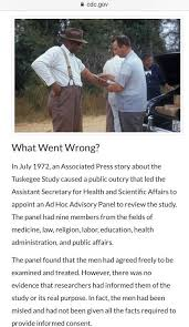 remembering the tuskegee syphilis experiment years later  source u s centers for disease control and prevention see cdc gov tuskegee timeline htm