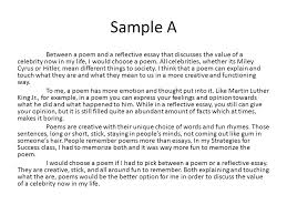 sample a between a poem and a reflective essay that discusses the sample a
