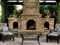 ... Outdoor fireplace design, Arrangement Stone Brown Classic Modern Stone  Fireplace Vases Two Seat Table Glass ...
