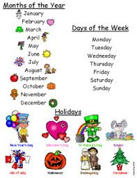 Months Of The Year Days Of The Week And Holidays Chart