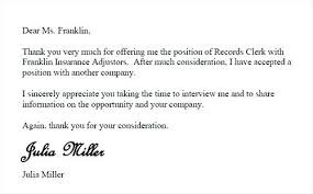 Email Accepting Job Offer Cool Letter Rejecting Job Offer Thank You Email After Acceptance Of