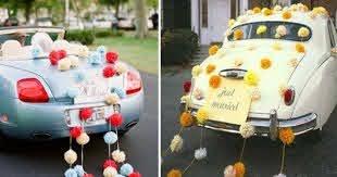 Car with pompom | Wedding car decorations, Tissue paper pom poms wedding,  Paper flower decor
