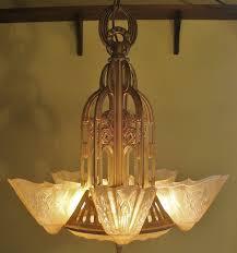 Reproduction Art Deco Light Fixtures Exquisite 5 Light Art Deco Lightolier Slip Shade Dome