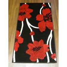 fl poppy 60x110cm black red hand carved top quality rug approx 4x2 sgebotovb