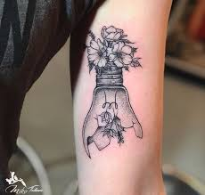 Tattoo Uploaded By Red Baron Ink Broken Bulb With Flowers
