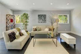 simple front room design light grey walls dark floors accented by beige couch and