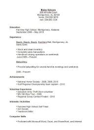 Resume Template High School Student First Job First Job Resume For