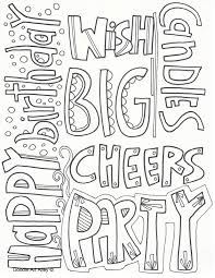 Coloring pages free with birthday hats covering whole text of happy birthday. Birthday Coloring Pages Doodle Art Alley