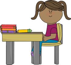 school chair clipart. school girl sitting at a desk clip art - vector image chair clipart