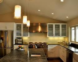 pendant lighting for island. L Shape Kitchen Decorating Using Cylinder Clear Glass Mini Pendant Light Over Island Lighting For