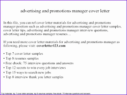 Sales Cover Letter Examples Advertising Manager And Promotions