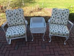 wrought iron patio furniture vintage. Vintage Woodard Wrought Iron Patio Set - 2 Chairs \u0026 Table Very Nice #Woodard Furniture H