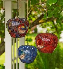 colored glass mosaic bird feeders set of 3