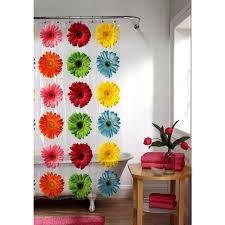 orange floral shower curtain. gerber daisy peva shower curtain, floral orange curtain