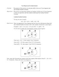 Venn Diagram Formula For 4 Sets Venn Diagrams And Cardinal Numbers