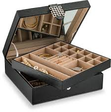 Jewelry Box - 28 Section Classic Organizer with Modern Buckle Closure,  Large Mirror & 2