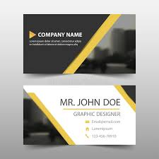 Yellow Black Triangle Corporate Business Card, Name Card Template ...