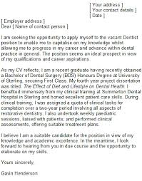 dental cover letter sample speculative covering letter examples