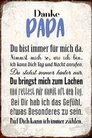 Schatzmix Danke Papa Du Bist Immer Für Mich Dasuße Metal Sign Deko