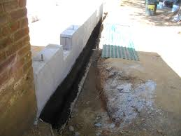 Messy Job Waterproofing The Foundation On Exterior Walls Brick - Exterior waterproof sealant