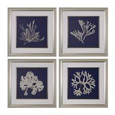 seaweed on navy framed fine on framed blue wall art set with titan lighting 28 in x 28 in seaweed on navy framed fine art