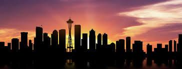 Seattle Cityscape Seattle Skyline Panorama Sunset Poster