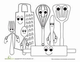 Small Picture Kitchen Utensils Worksheets Kindergarten and Coloring worksheets