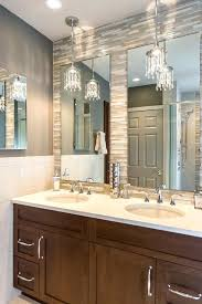 pendant lighting bathroom vanity. Pendant Lights Bathroom Crystal Transitional With Stacked Glass Tile Mirror Over Vanity Lighting