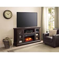 whalen media fireplace console for tvs dark rustic brown electric vintage appliances back panel designer wall