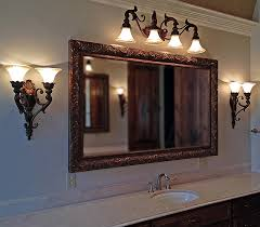 large wood bathroom mirror metal custom framed