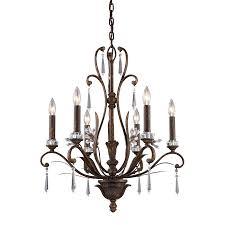 emilion 6 light traditional chandelier lighting fixture burnt bronze crystal embellishments b12196