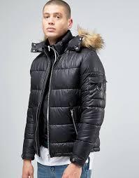 ASOS | ASOS Quilted Jacket with Fur Trim Hood in Black &  Adamdwight.com
