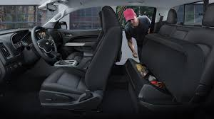innovative rear seat storage in the 2018 chevrolet colorado mid size pickup truck
