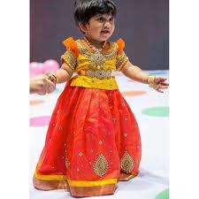 Indian Baby Girl Lehenga Designs Yellow And Orange Pure Raw Silk Pattu Langa Kids Lehenga