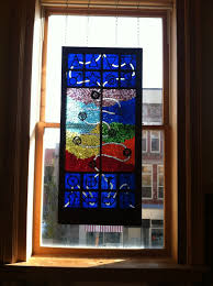 custom made stained glass mosaic window hanging
