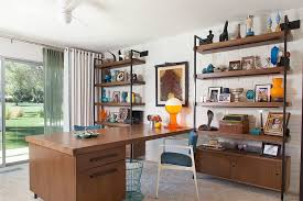 mid century modern office. Mid Century Modern Shelves Home Office Midcentury With Yellow White Ceiling Fan Builtin Desk R
