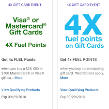 save a digital coupon to get 4x fuel points on third party gift cards valid until 09 29 2018