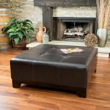 elegant espresso brown leather ottoman