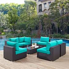 patio furniture. Modway Furniture Convene 7 Piece Outdoor Patio Sectional Set In Espresso Turquoise T