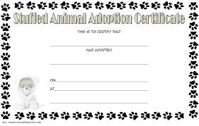 Pet Adoption Certificate Template Stuffed Dog Adoption Certificate Template Free 1 One Package