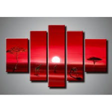 handmade discount sunset oil paintings 5 panel canvas wall art modern sets wall decor on 5 panel wall art uk with handmade discount sunset oil paintings 5 panel canvas wall art
